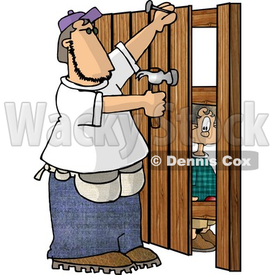 400x400 Watching A Man Build A Wooden Fence Clipart Picture Djart