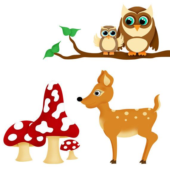 570x570 Woodland Animals Clip Art Set 10 Designs. Instant Download