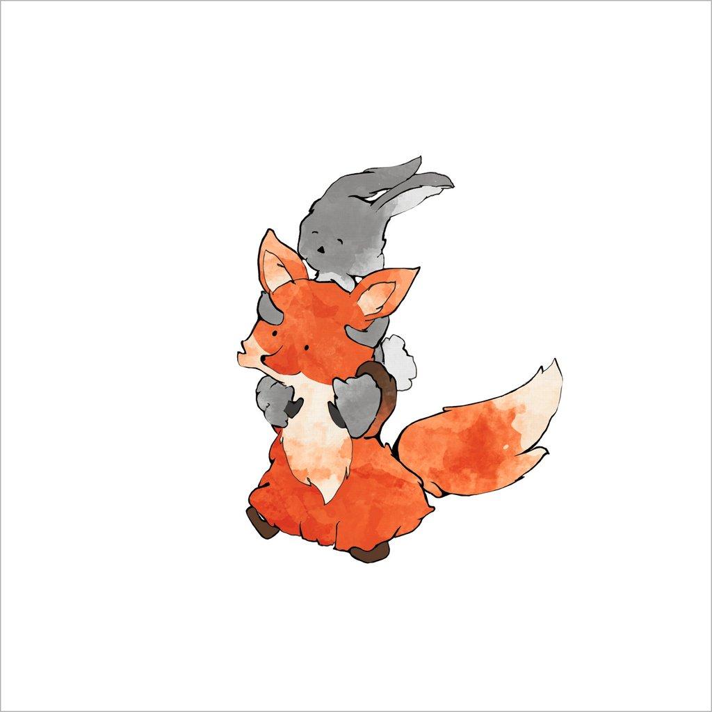 1024x1024 Fox And Rabbit Art Print