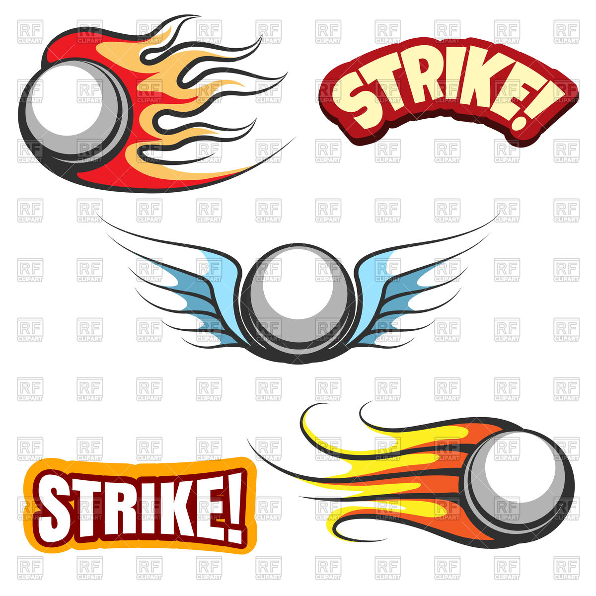1200x1200 Set Of Bowling Ball Icons, Bowling Ball In Fire And Word Strike