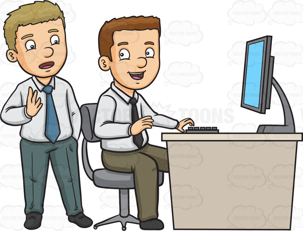 1024x782 Two Work Colleagues Discussing Work Cartoon Clipart