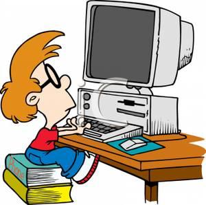 300x298 Boy Using Computer Clipart