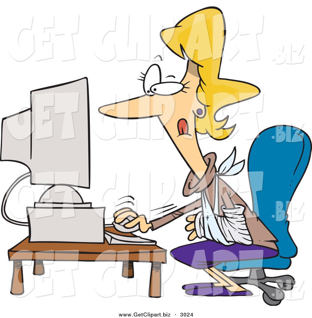 1024x1044 Cliprt Ofn Injured Caucasian Blond Secretary Woman Using