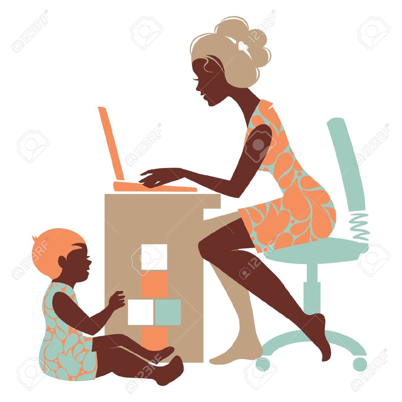 1300x1300 Mother And Baby Clipart Working Mother