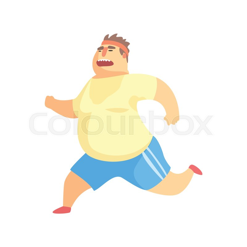 800x800 Funny Chubby Man Character Doing Gym Workout Running And Sweating