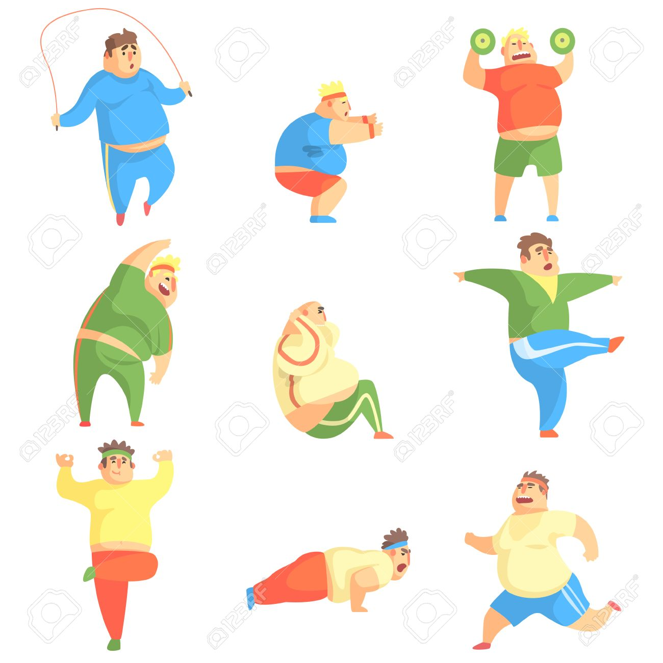 1300x1300 Funny Chubby Man Character Doing Gym Workout Set Of Illustrations