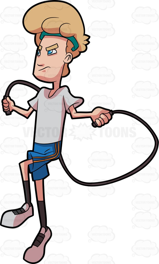 616x1024 A Man Concentrating On His Jump Rope Workout Cartoon Clipart