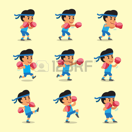 450x450 Cartoon Character Dog Doing Kickboxing Workout Set Royalty Free