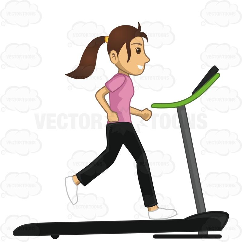 800x800 Woman Running On A Treadmill Cartoon Clipart