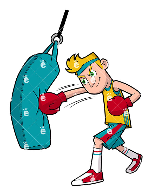 585x755 A Man Working Out With A Punching Bag Vector Clipart