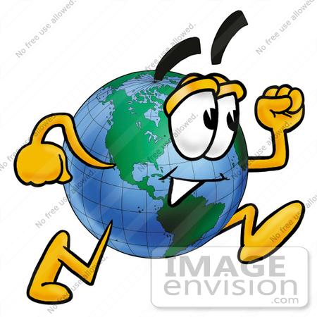 450x450 Clip Art Graphic Of A World Globe Cartoon Character Running