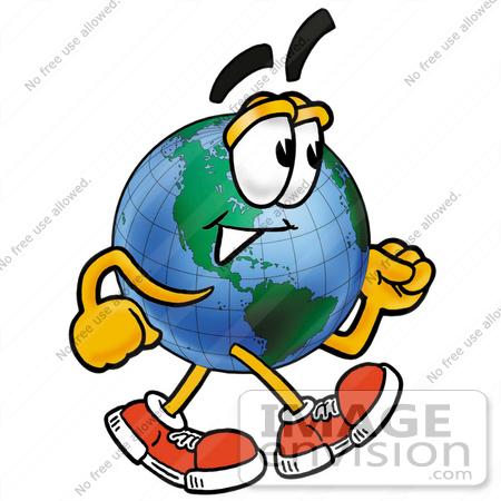 450x450 Clip Art Graphic Of A World Globe Cartoon Character Walking