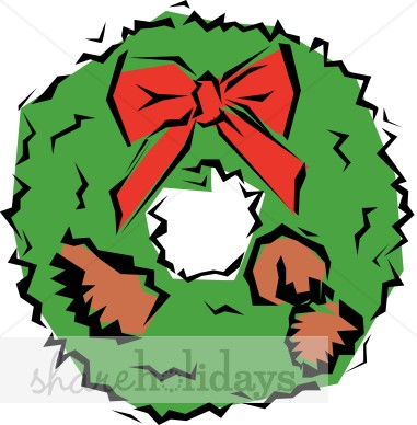 381x388 Green Cartoon Wreath With Pine Cones And Bow Christmas Wreath