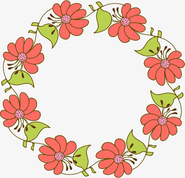 650x624 Cartoon Orange Flower Wreath, Vector Png, Cartoon Flowers, Orange
