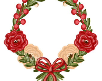 340x270 Eucalyptus Wreath Clip Art Christmas Wreath Graphic Green