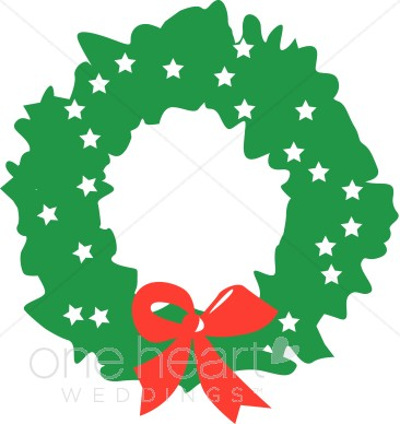 366x388 Green Wreath With White Stars And Red Bow Clipart Wedding Wreath