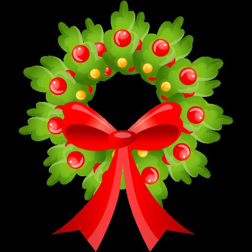 512x512 Merry Christmas Wreath Clipart