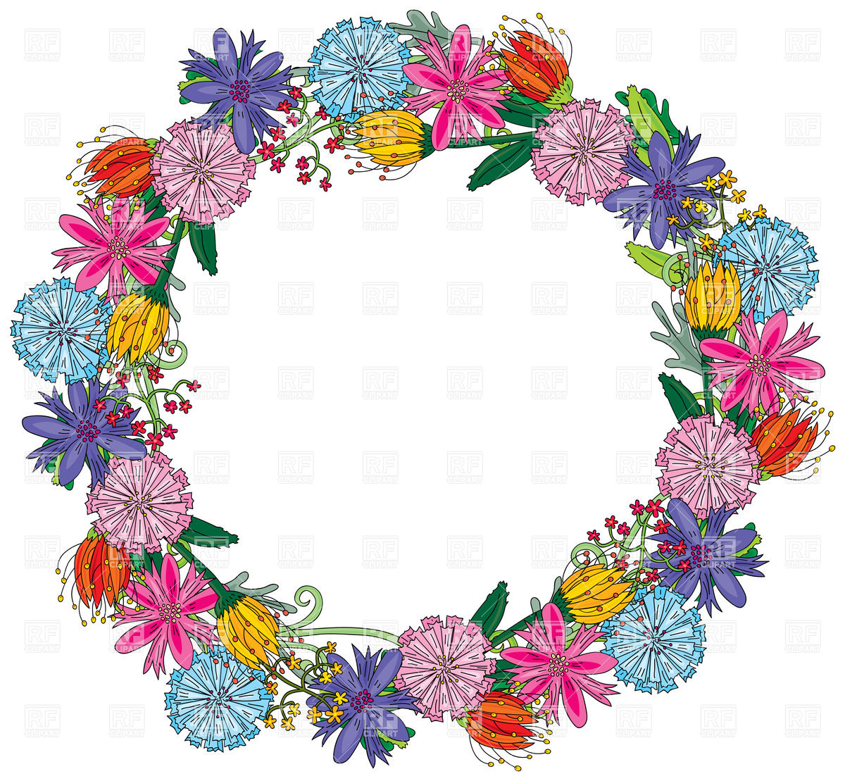 1200x1109 Wreath Made Of Colorful Different Flowers Royalty Free Vector Clip