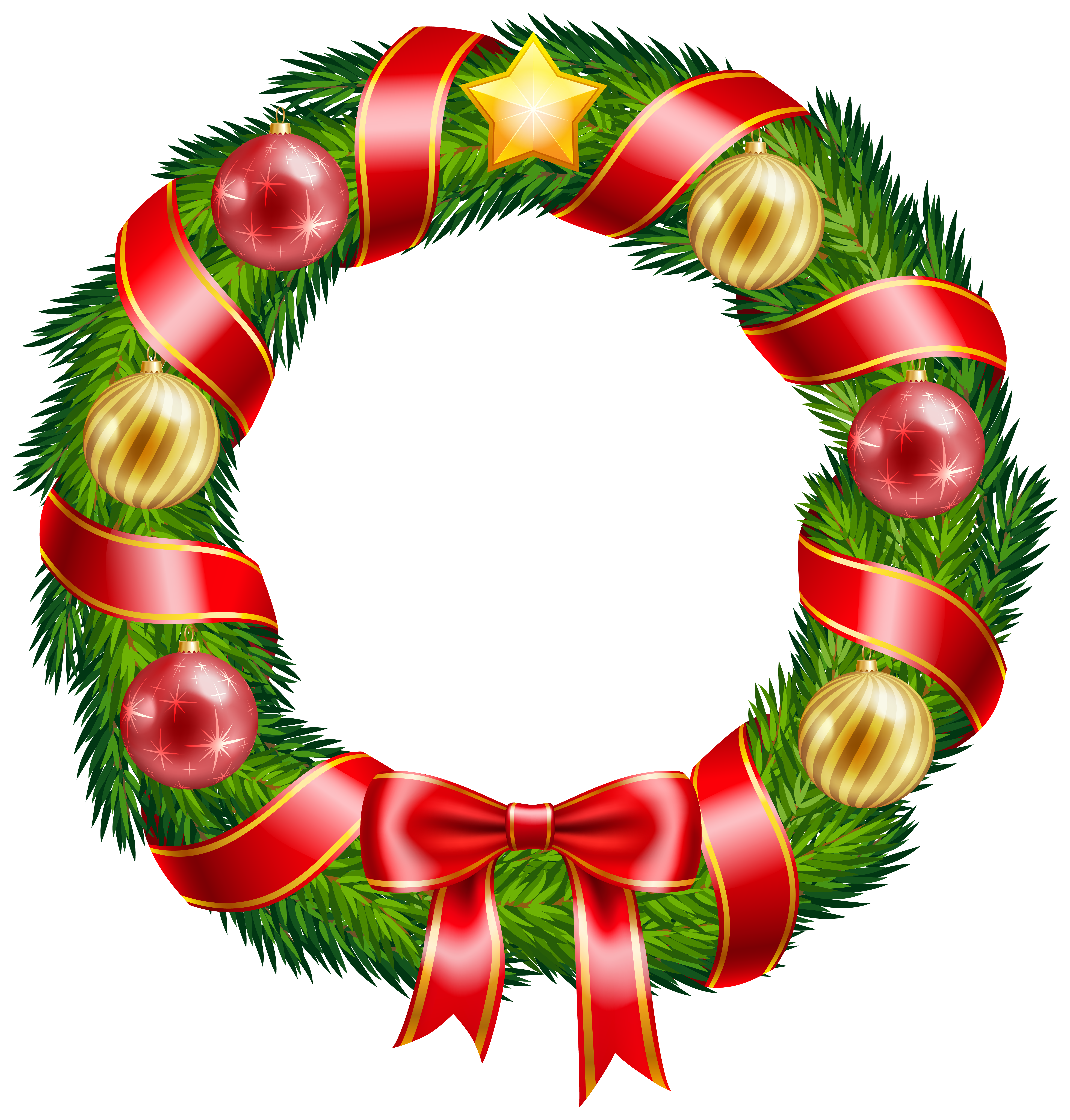 6058x6342 Christmas Wreath With Ornaments And Red Bow Clipart Png Image