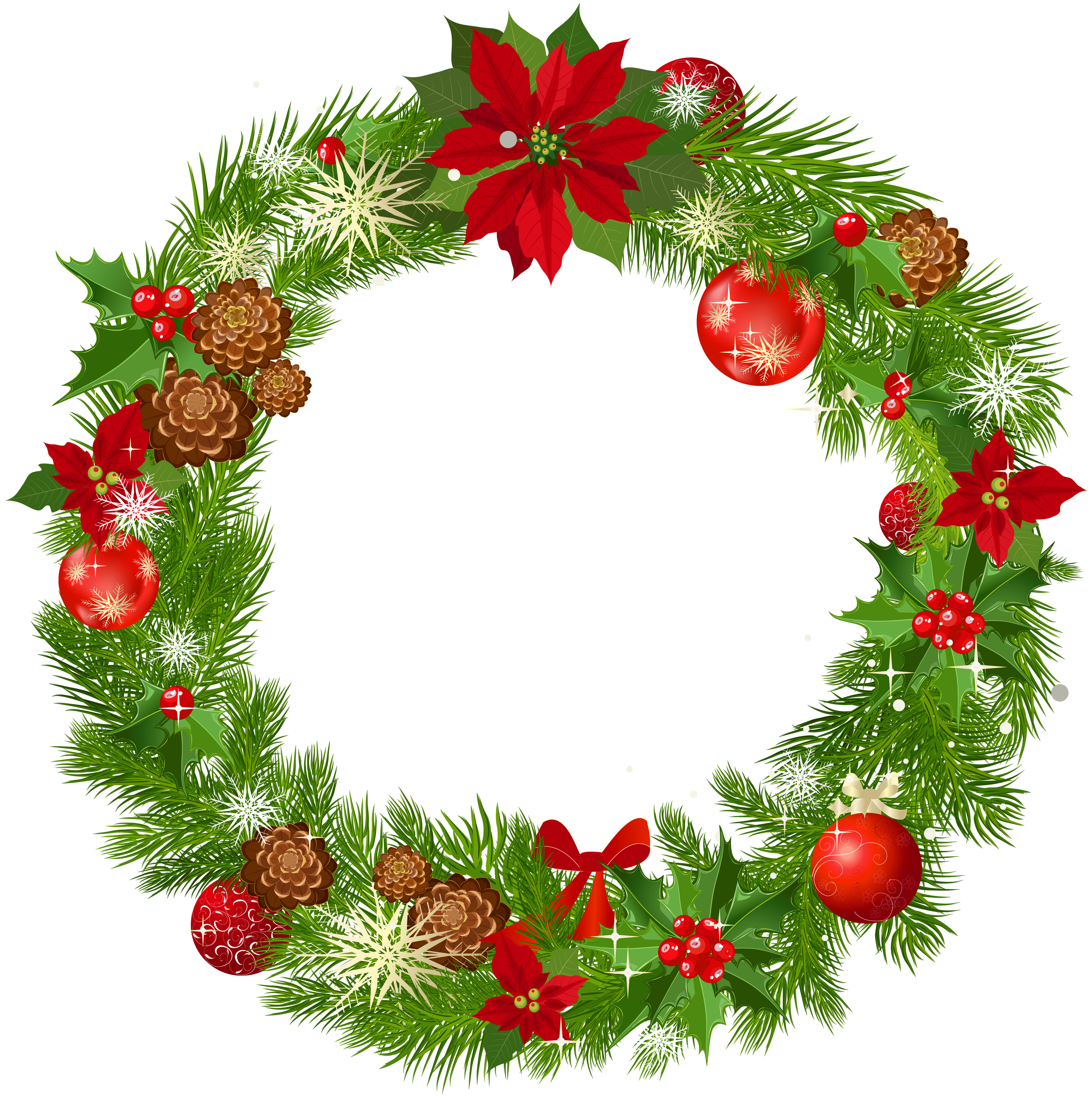 3500x3524 Wreath Clipart Vintage Christmas Wreath