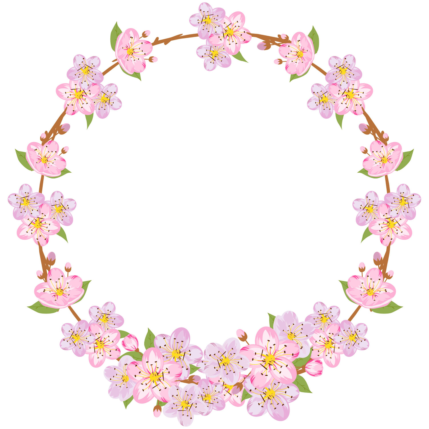1500x1500 Spring Clipart, Sakura Clipart, Spring Wreath, Flower Wreath