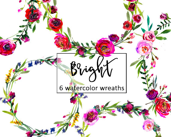 570x456 Burgundy Floral Wreaths Clip Art Watercolor Flowers Pink Red