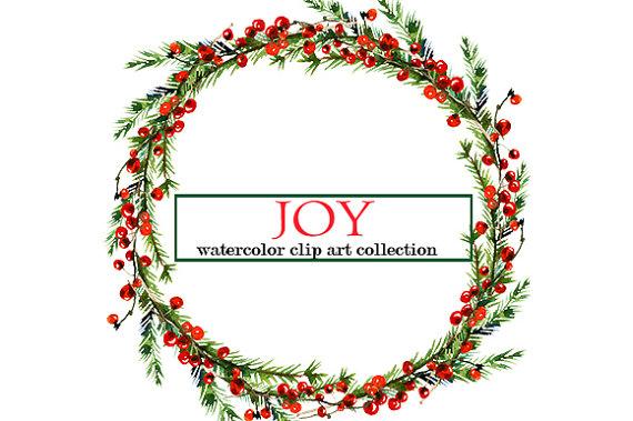 570x379 Christmas Watercolor Clipart Wreaths Border Floral Clip Art