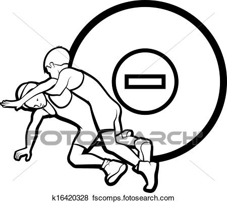 450x403 Clip Art of Youth Wrestling k16420328