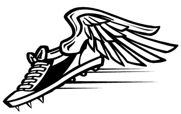 600x379 Track Shoe Black And White Running Shoe Clipart