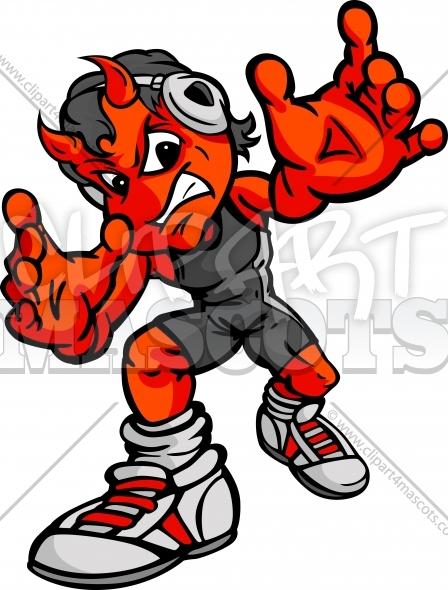 448x590 Demon Wrestling Graphic Vector Cartoon