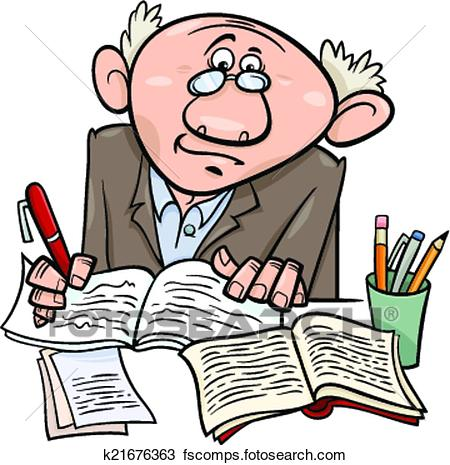 450x465 Clipart Of Professor Or Writer Cartoon Illustration K21676363