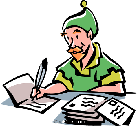 480x437 Elf Writing Christmas Cards Royalty Free Vector Clip Art