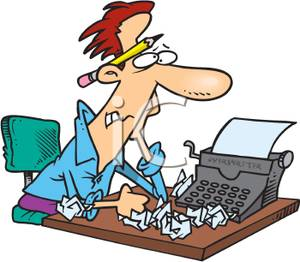300x262 Frustrated Author With Writer's Block At His Typewriter Clipart Image