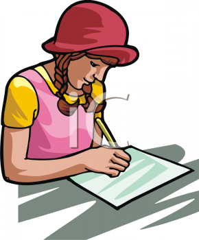 290x350 Girl Writing Clipart