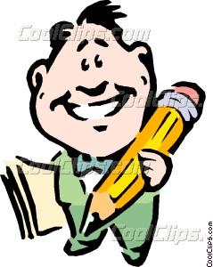 239x300 Cartoon Man Writing Vector Clip Art