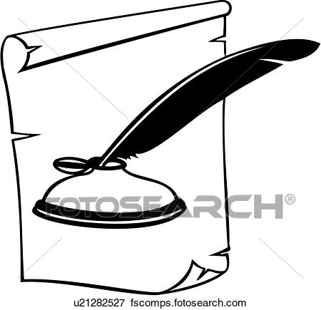 450x435 Clip Art Of , Profession, Sign, Trade, Writer, Ink Well, Pen