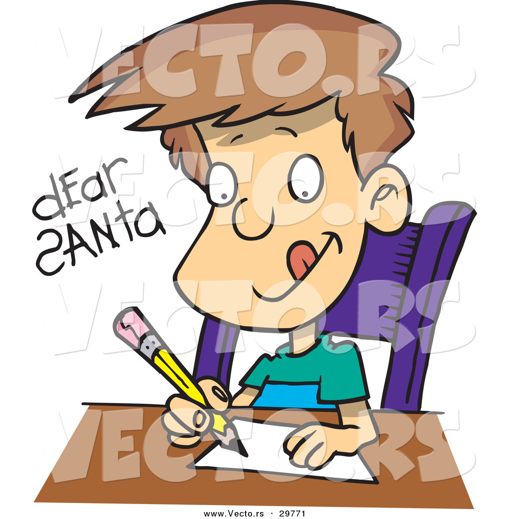 1024x1044 Cartoon Vector Of A Happy Boy Writing Letter To Santa By Toonaday