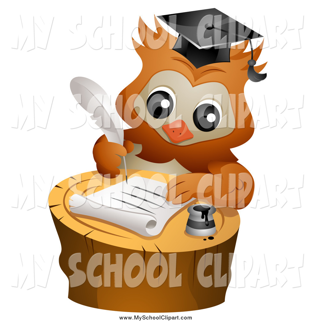 1024x1044 Clip Art Of A Smart Professor Owl Writing A Letter On A Tree Stump