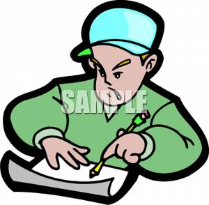 300x294 Art Image A Frustrated Boy Writing A Letter