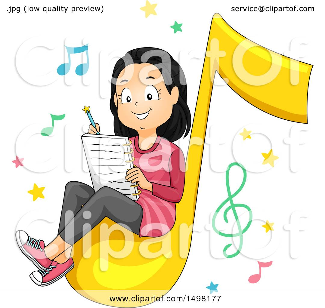 1080x1024 Clipart Of A Girl Sitting On A Music Note And Writing A Song