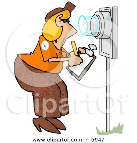 450x470 Electric Meter Reader Writing Down Electricity Usage Clipart