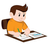 170x152 Clipart Of Boy Writing A Letter K9790341
