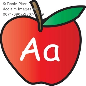 300x298 Art Illustration Of An Apple With The Letter A Written On It