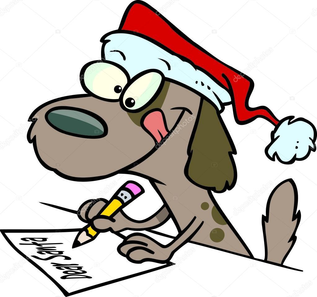 1023x959 Cartoon Brown Puppy Dog Wearing A Santa Hat And Writing A Letter
