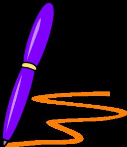 258x299 Lilac Pen Orange Writing Clip Art