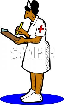 215x350 Picture Of A Nurse Writing Chart Notes In A Vector Clip Art