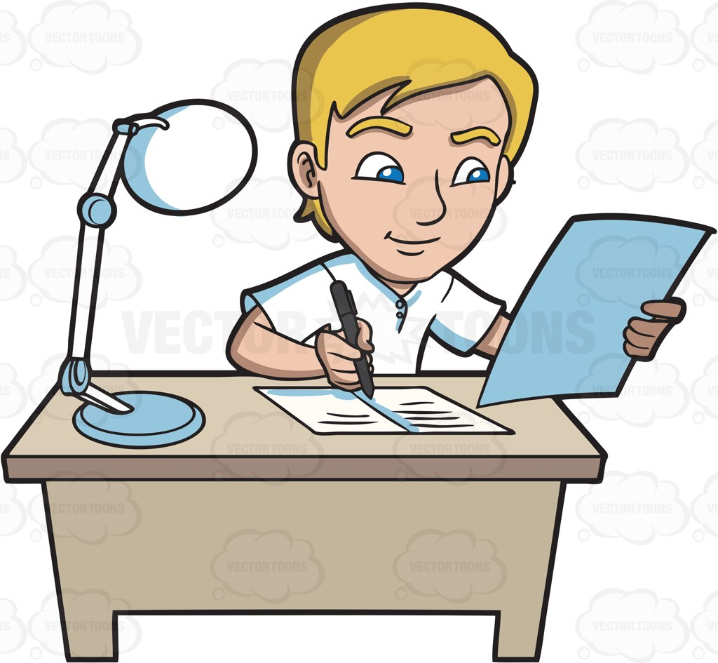 1024x945 A Young Man Writing Down Notes In His Reviewer Cartoon Clipart