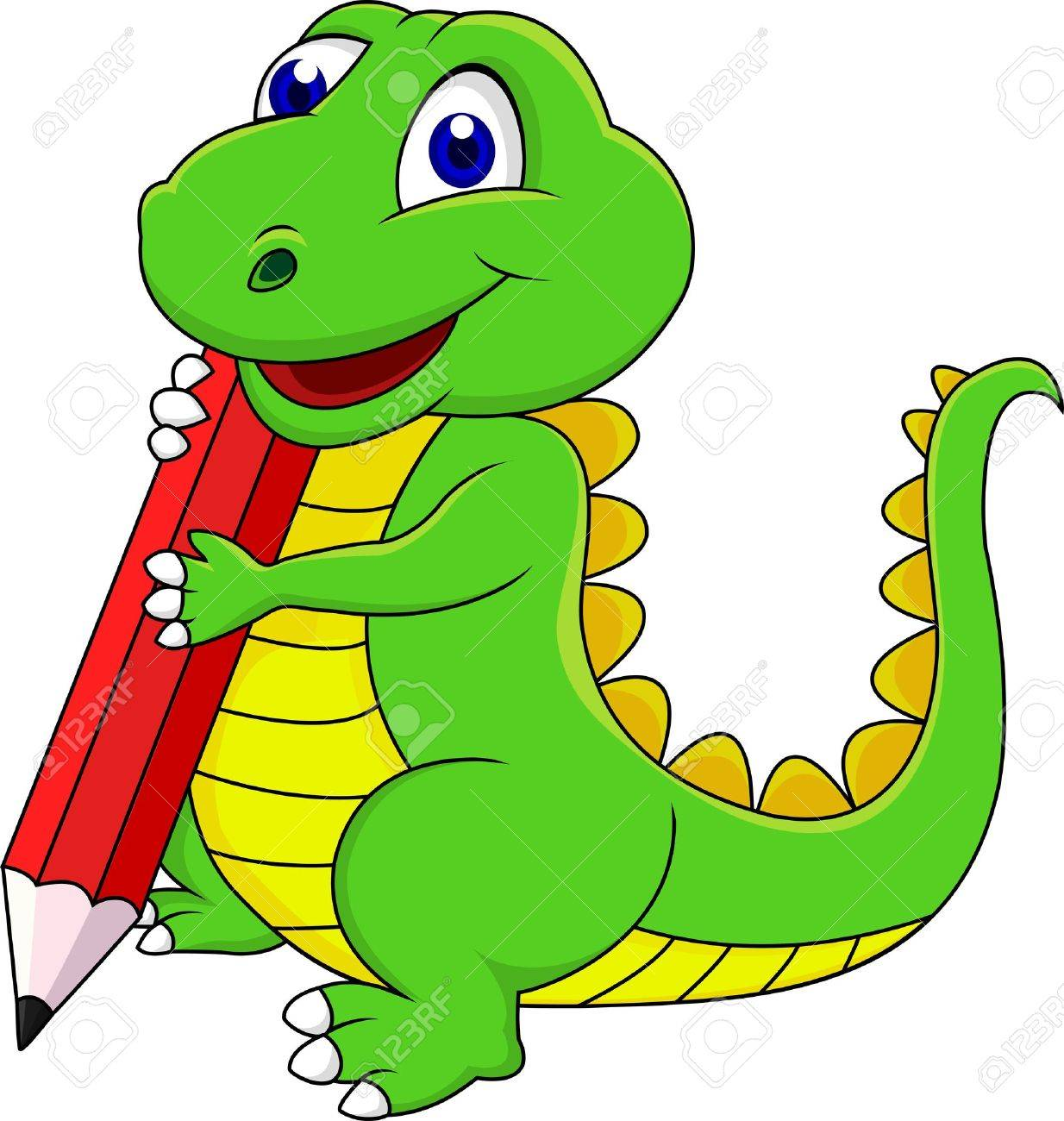 1234x1300 Happy Dinosaur Cartoon Writing With Pencil Royalty Free Cliparts