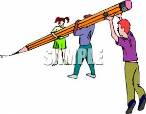300x234 People Writing With A Very Large Pencil Clip Art Image