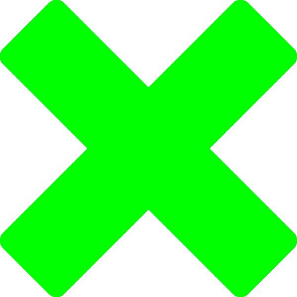 600x600 Green X Clip Art